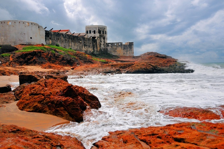 cape coast ghana castle fort rocks ocean