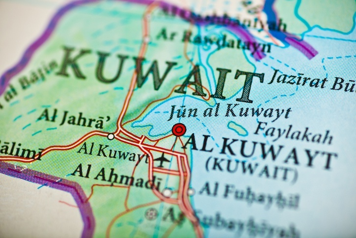 kuwait map gulf cities towns political