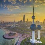 kuwait travel city towers sunset coast skyline