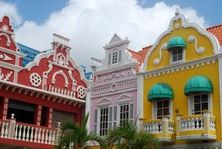 aruba oranjestad colorful buildings city dutch architecture