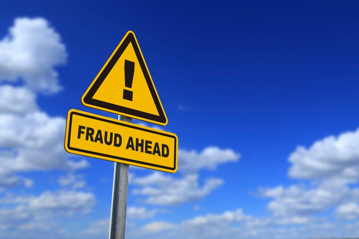 fraud road sign sounds sky scam exclamation point