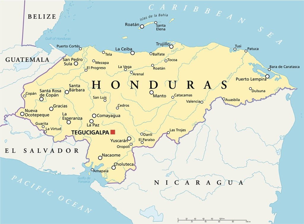 honduras map political central america cities