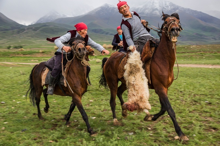 kyrgyzstan horseback riding people mounted hunting game