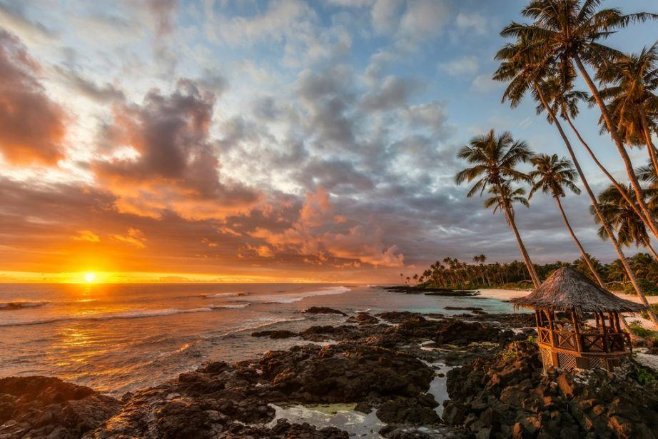 samoa travel beach sunset ocean trees tropical