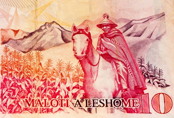 lesotho currency man loti horseback red money cash bill notes 10