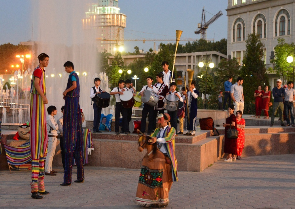tajikistan city celebration dress dusk evening