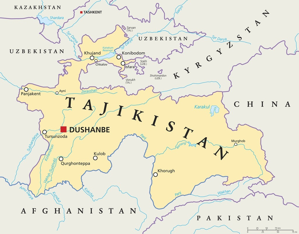 tajikistan map central asia political cities