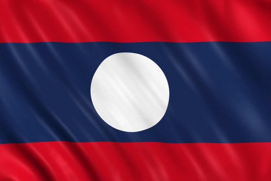 laos flag red blue stripes white circle
