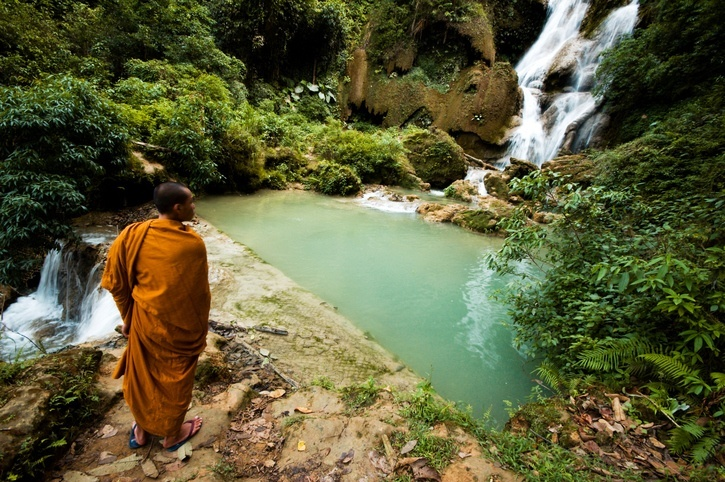 laos monk buddhism buddhist waterfall pool ledge