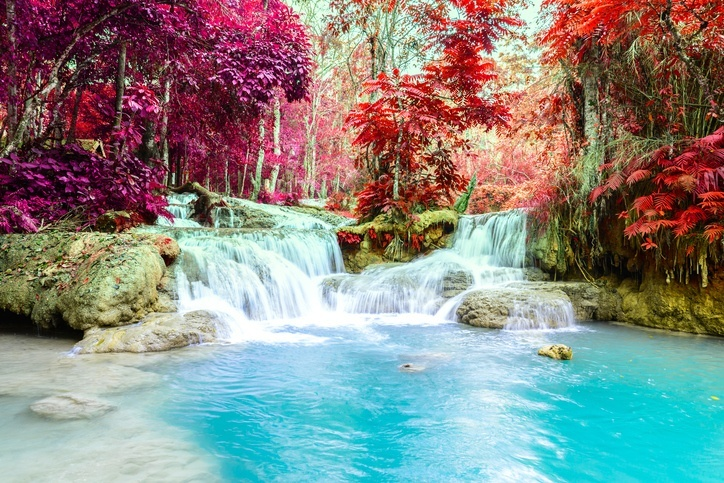 waterfall colorful laos water red trees leaves