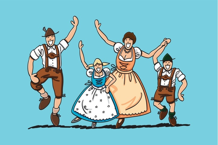 family dancing oktoberfest lederhosen germany traditional