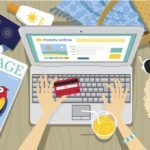 travel sites computer cartoon hands booking credit card