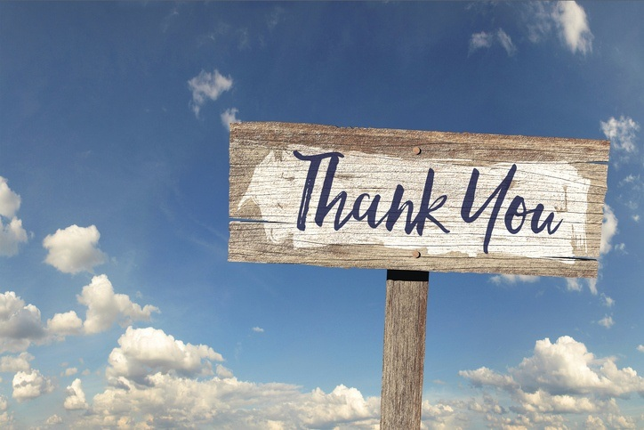 thanks thank you signpost blue sky clouds
