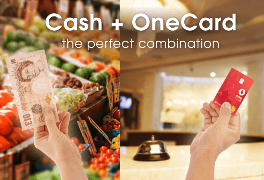 cash vs card onecard combination paying groceries