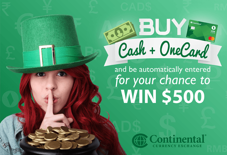 continental luck win onecard 500 st. patricks day ireland irish