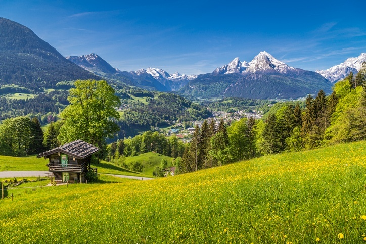 europe alps mountains chalet landscape